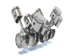 V8 engine pistons. 3D illustration Stock Footage