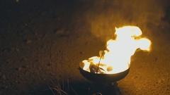 Fire moving on glass bowl Stock Footage