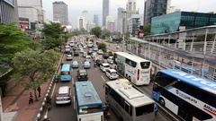 Traffic jam in Jakarta crowded streets, Indonesia capital city Stock Footage