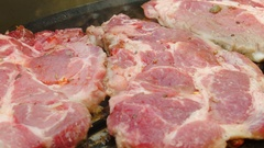 Cooking t-bone steak on the grill Stock Footage