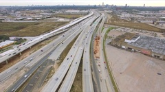 Aerial view of major freeway in Houston Texas during rush hour traffic. Arkistovideo