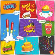 Party Comic Page Design Stock Illustration
