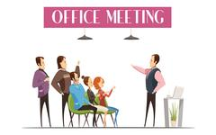Office Meeting Cartoon Style Design Piirros