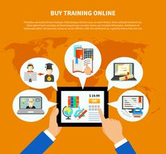 E Learning Composition Template Stock Illustration