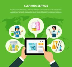 Cleaning Online Application Concept Stock Illustration