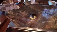 Cooking sea fish. Sea fish on a baking sheet. Stock Footage