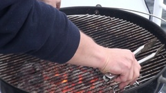 Equipment for cooking barbecue on the ship overlooking the water . Coals BBQ. Stock Footage