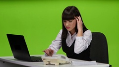 Woman boss was tired at the end of working day Stock Footage