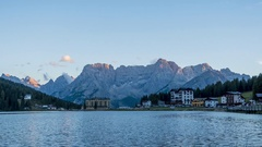 4K Timelapse of lake Misurina at sunset in Italy Stock Footage