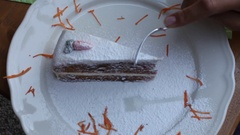 Someone eating carrot cake Stock Footage