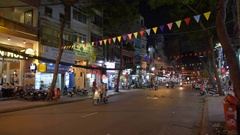 Nightlife with bars and pubs, De Tham Street in district one Stock Footage