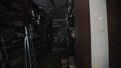 Tracking shot old style library interior. Wooden floor. bookshelves archives Stock Footage