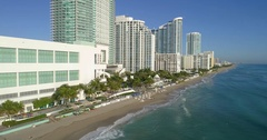 Aerial beachfront resorts and hotels Hollywood Beach FL 4k 60p Stock Footage