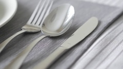 4K Cutlery Flatware Placed on Dining Table   Panning Over Stock Footage