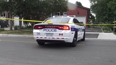 Police Do Not Cross yellow tape at Hickory Drive in Mississauga  Stock Footage