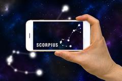 Augmented Reality, AR, of Scorpius Zodiac Constellation App on Smartphone S.. Stock Photos