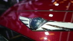 4K Genesis Car Brand Badge on Vehicle at Car Show Stock Footage