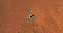 Top view of Mars Reconnaissance Orbiter in orbit above Amazonis Region. Stock Footage