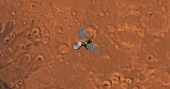 Top view of Mars Reconnaissance Orbiter in orbit above Arabia Region. Stock Footage