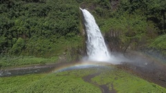 Aerial shot of Cascada Magica (Magic Waterfall) with rainbow Stock Footage