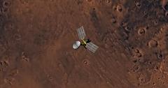Top view of Mars Reconnaissance Orbiter in orbit above Mare Tyrrhenum Region. Stock Footage