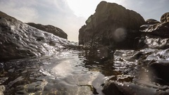 Underwater Surface With Rays of Light. Beautiful Sunset Ocean Seascape Stock Footage