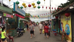 View of people at a street marketplace in Tran Phu Street Stock Footage