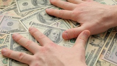 Hands of greedy businessman and money Stock Footage