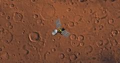 Top view of Mars Reconnaissance Orbiter in orbit above Sinus Sabeus Region. Stock Footage