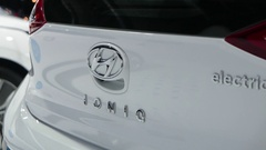 4K Hyundai IONIQ Electric Car on Display at Auto Show Stock Footage