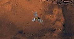Top view of Mars Reconnaissance Orbiter in orbit above Coprates Region. Stock Footage