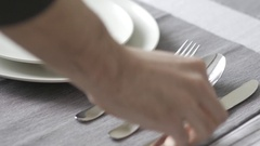 4K Placing The Cutlery Flatware On Dining Table Stock Footage