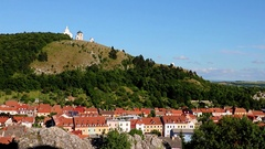 Town Mikulov with Chapels on the Holy Hill, South Moravia, Czech republic Stock Footage