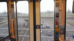 View through doors of Max Light Rail train. Portland, Oregon. Stock Footage
