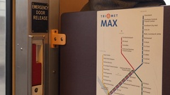Riding on Max Light Rail train. Detail of map. Portland, Oregon. Stock Footage