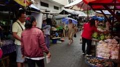 Rain on the food market in Jakarta, Indonesia. Stock Footage