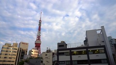 Tokyo tower view with Japanese regular street buildings and apartments Stock Footage