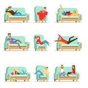 People Resting At Home Relaxing On Sofa Or Armchair Having Lazy Free Time And Stock Illustration