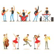 Artists Playing Music Instruments And Singing On Stage Concert Series Of Stock Illustration