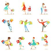 Shopaholic People Happy And Excited Running With Paper Shopping Bags Smiling Stock Illustration