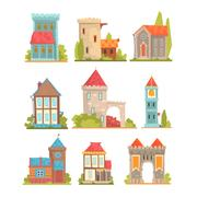Old And Medieval Historical Buildings Set Of European Architecture Towers Piirros