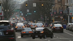 Portland street with traffic. Portland, Oregon. Stock Footage