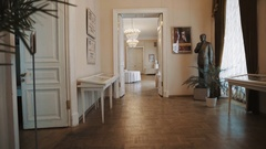 Dolly shot of old classic russian opera hall corridors interior Stock Footage
