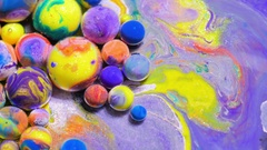 Slow Motion Vibrant Wallpaper 4K Chemical Reaction Splashing Multicolored Stock Footage