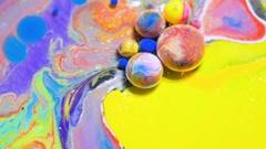 Bubble Bursting Moving Liquid Color Colorful Bubbles Slow Motion Artistic Stock Footage
