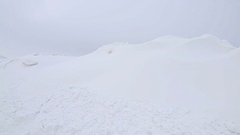Winter snowdrifts near to snowy road, POV Steady cam shot, Personal perspective Stock Footage