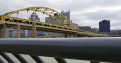 Dolly Up Establishing Shot of Pittsburgh Skyline in Winter Stock Footage