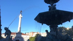 Water Fountain In Famous Rossio Square In Lisbon, Portugal Stock Footage