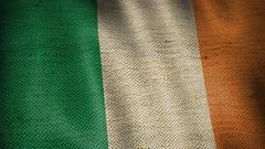 Burlap Flag of Ireland. Stock Footage