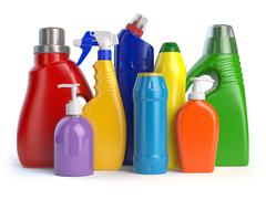 Detergent bottles or containers. Cleaning supplies isolated on white backgr.. Stock Illustration